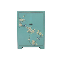 Chinese Shoe Cabinet Blue Blossoms Handpainted W80xD35xH99cm