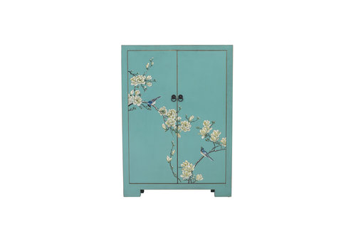 Fine Asianliving Chinese Shoe Cabinet Blue Blossoms Handpainted W80xD35xH99cm