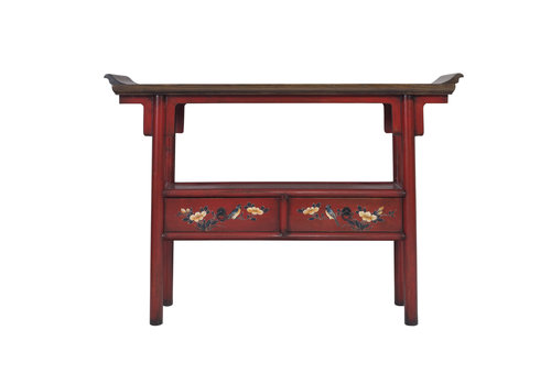Fine Asianliving Chinese Console Table Handpainted Red