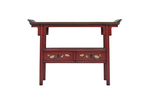 Fine Asianliving Mesa Consola China Pintada a Mano Roja
