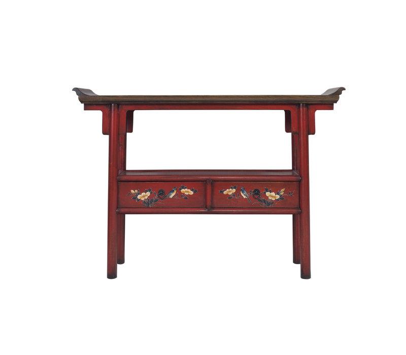 Chinese Bijzettafel Handgeschilderd Rood
