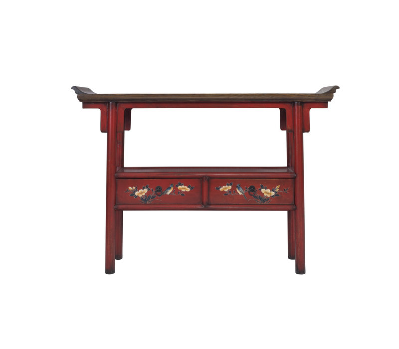 Chinese Console Table Hand-painted Red