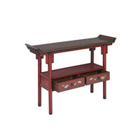 Chinese Console Table Handpainted Red