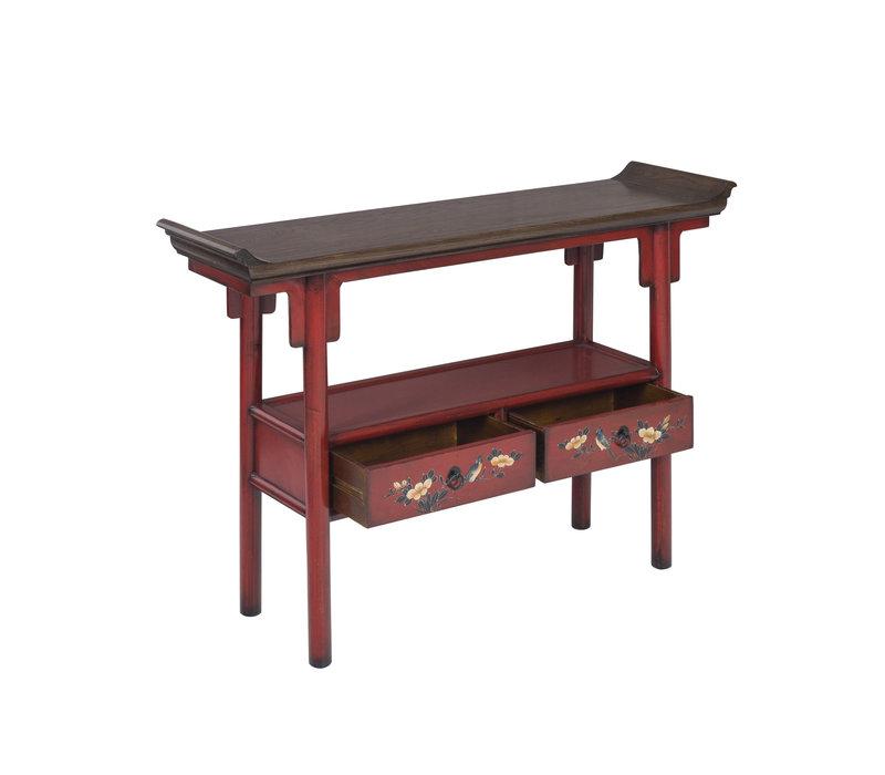 Chinesischer Konsolentisch Handbemalt Rot