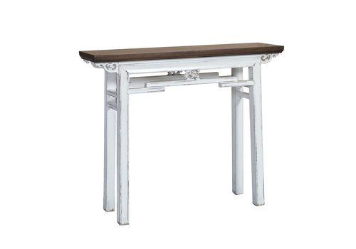 Fine Asianliving Table Console Chinoise Vintage Blanc L106xP29xH90cm