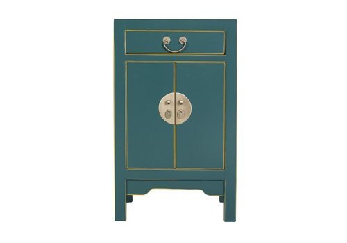 Fine Asianliving Chinees Nachtkastje Teal Blauw B42xD35xH70cm - Orientique Collection