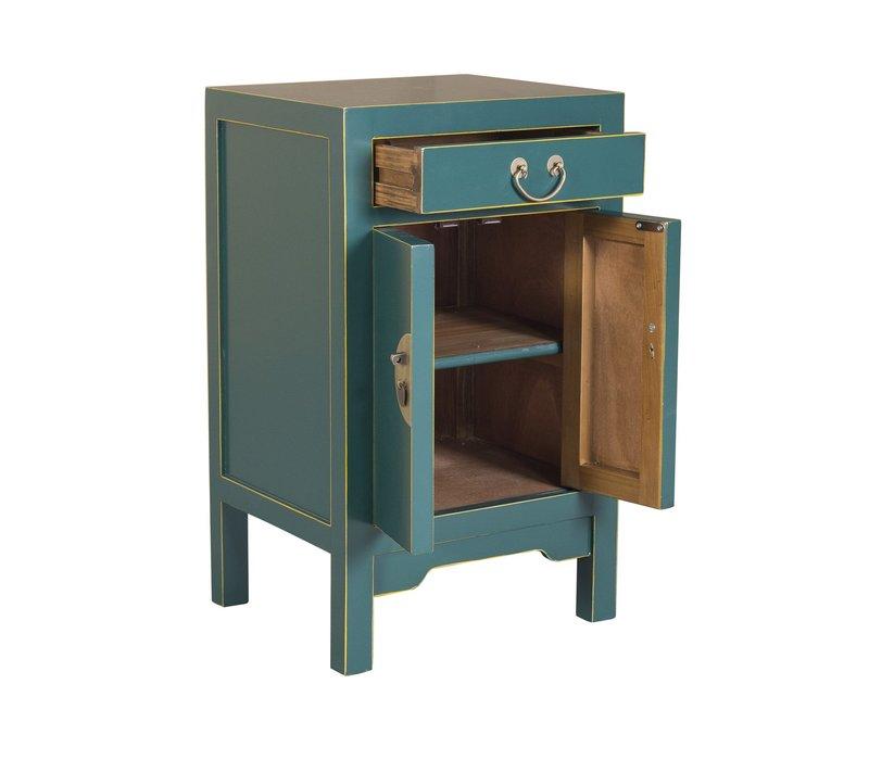 Mesita de Noche China Azul Jade - Orientique Colección Anch.42 x Prof.35 x Alt.70 cm