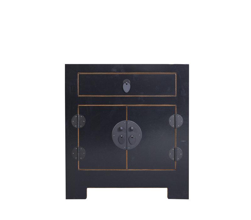 Chinees Nachtkastje Zwart met Ingevlochten Bamboe B55xD40xH60cm