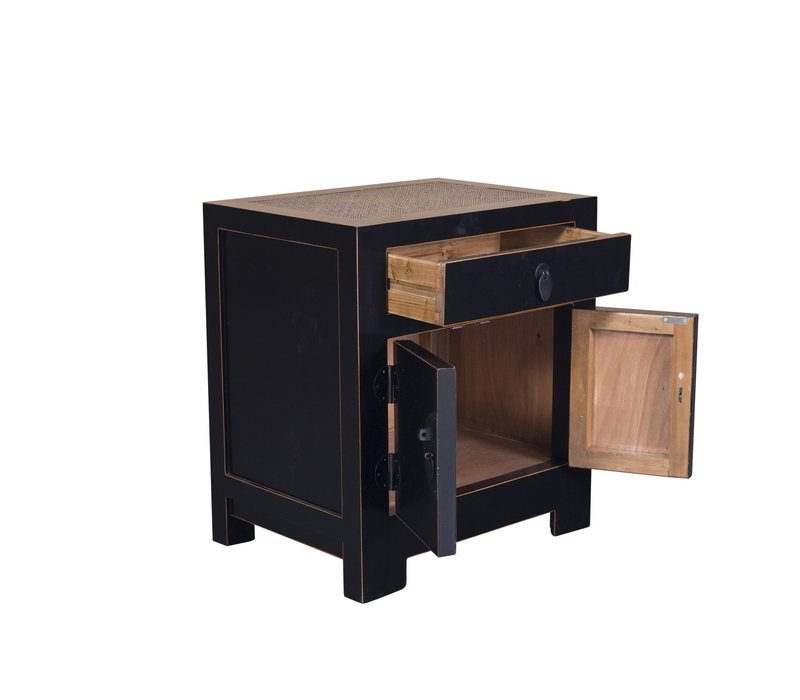 Chinese Bedside Table with Handwoven Bamboo W55xD40xH60cm