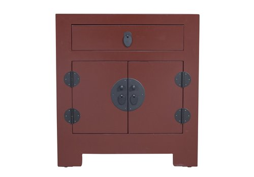 Fine Asianliving Chinese Bedside Table Red with Handwoven Bamboo W55xD40xH60cm