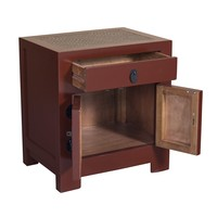 Chinese Bedside Table Red with Handwoven Bamboo W55xD40xH60cm