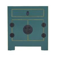 Chinees Nachtkastje Blauw met Ingevlochten Bamboe B55xD40xH60cm