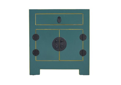 Fine Asianliving Chinese Bedside Table Blue with Handwoven Bamboo W55xD40xH60cm