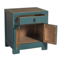 Chinese Bedside Table Blue with Handwoven Bamboo W55xD40xH60cm