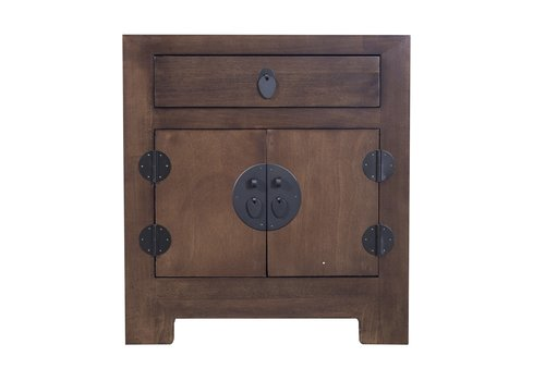 Fine Asianliving Chinese Bedside Table Brown with Handwoven Bamboo W55xD40xH60cm