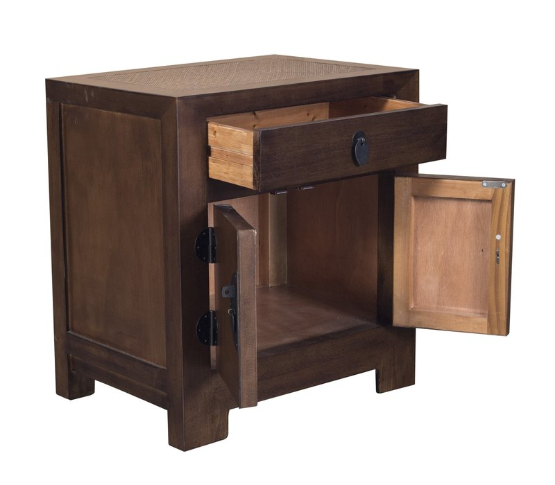 Chinese Bedside Table Brown with Handwoven Bamboo W55xD40xH60cm
