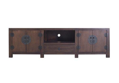 Fine Asianliving Antiek Chinees TV-meubel met Ingevlochten Bamboe Donkerbruin B190xD56xH56cm
