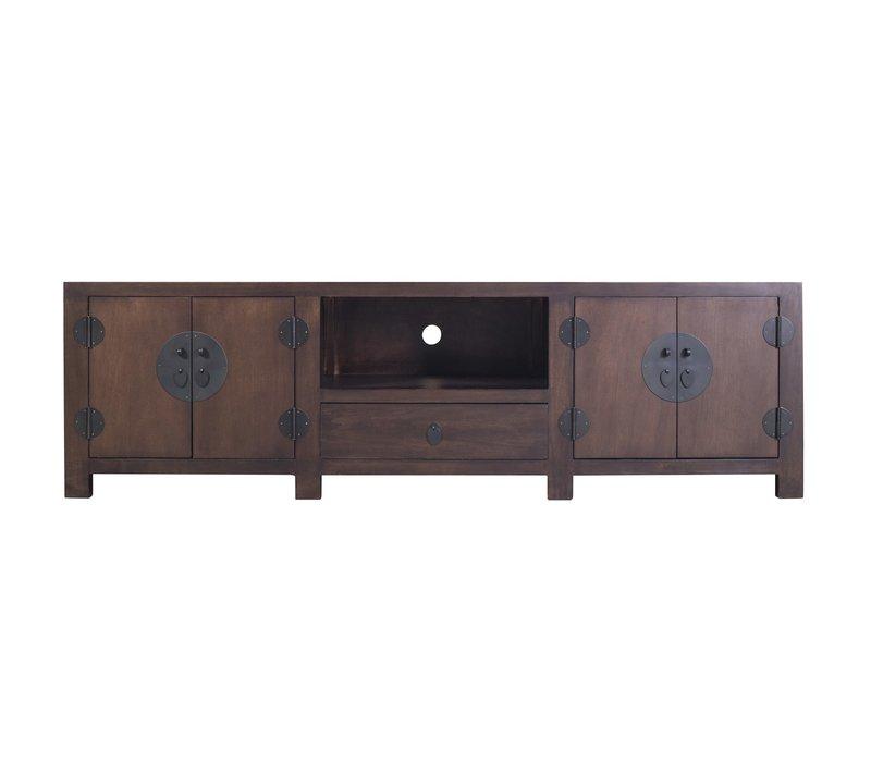 Antiek Chinees TV-meubel met Ingevlochten Bamboe Donkerbruin B190xD56xH56cm
