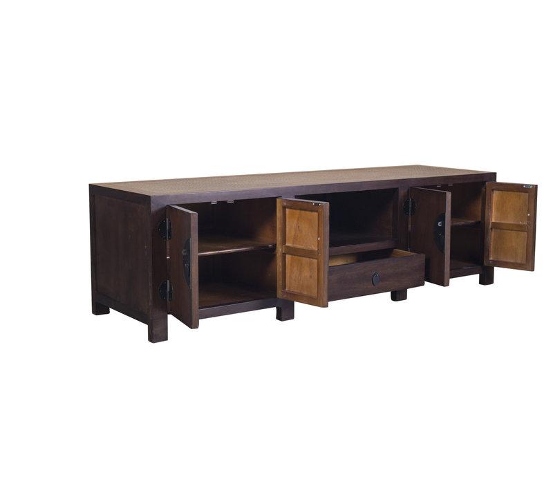 Chinese TV Stand Bench with Handbraided Bamboo Dark Brown W190xD56xH56cm