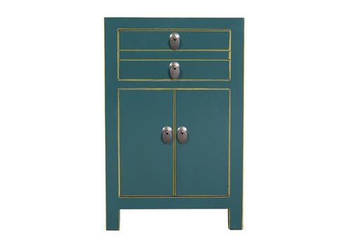 Fine Asianliving Chinese Bedside Table Teal W40xD32xH60cm