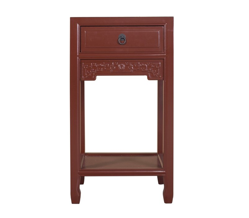 Chinese Plant Stand Burgundy Red Handcrafted