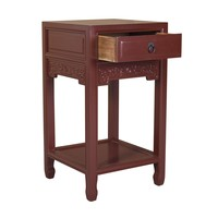 Chinese Plant Stand Bordeaux Red Handcrafted