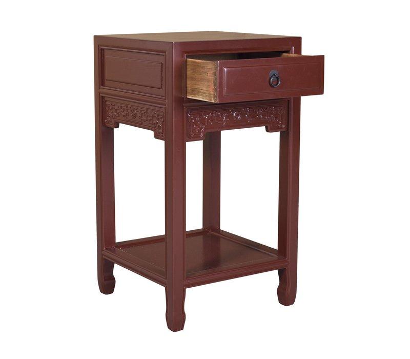 Chinese Plantentafel Handgemaakt Vintage Rood