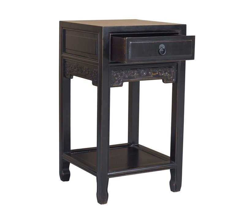 Chinese Plant Stand Handcrafted Vintage Black