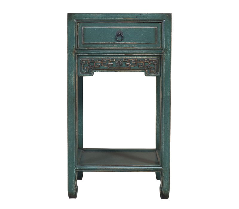 Chinese Plant Stand Handcrafted Vintage Blue