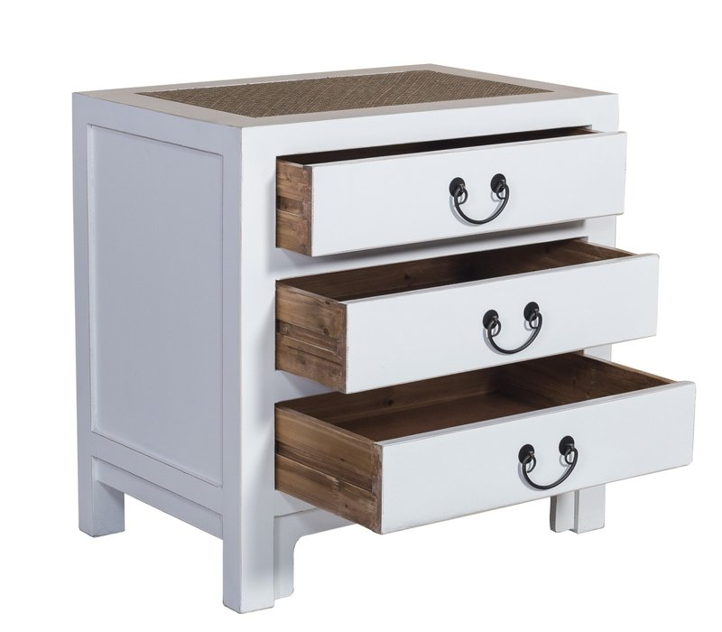 Chinese Bedside Table with 3 Drawers and Handbraided Bamboo White