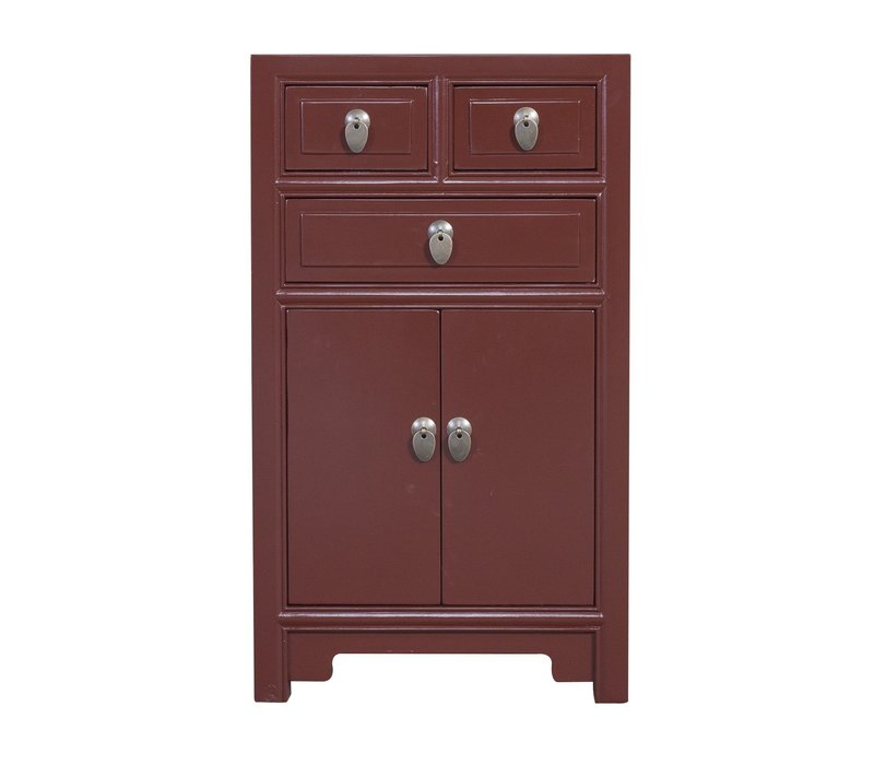 Chinese Bedside Table Burgundy Red W44xD42xH77cm