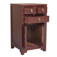 Chinese Bedside Table Bordeaux Red W44xD42xH77cm
