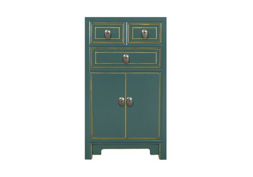 Fine Asianliving Chinese Bedside Table Teal W44xD42xH77cm
