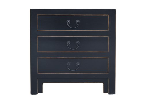 Fine Asianliving Chinese Bedside Table with 3 Drawers and Handbraided Bamboo Black