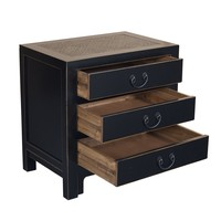 Chinese Bedside Table with 3 Drawers and Handbraided Bamboo Black