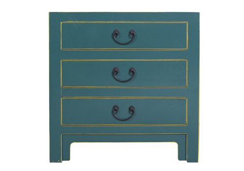 Fine Asianliving Chinese Bedside Table with 3 Drawers and Handbraided Bamboo Teal