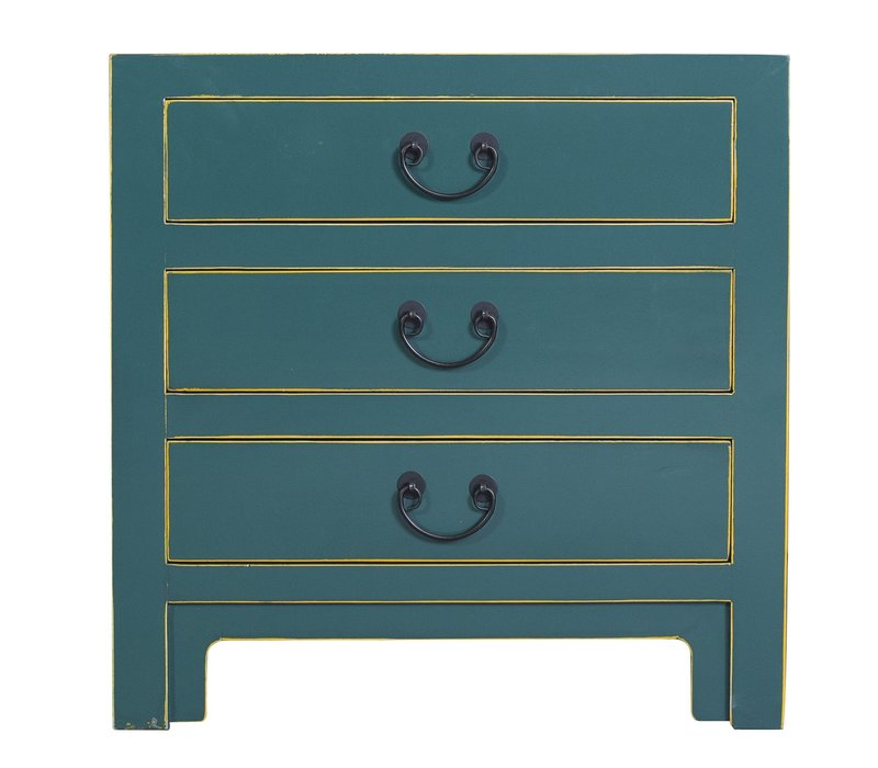 Chinese Bedside Table with 3 Drawers and Handbraided Bamboo Teal