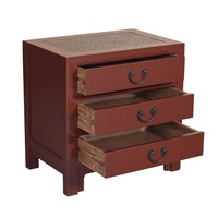 Chinese Bedside Table with 3 Drawers and Handbraided Bamboo Bordeaux Red
