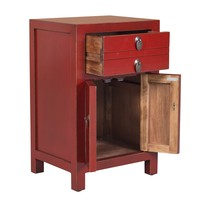 Chinese Bedside Table Vintage Red W40xD32xH60cm