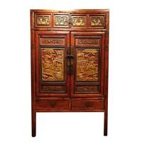 Zeldzame Antieke Chinese Kast met Houtsnijwerk B103xD50xH176cm