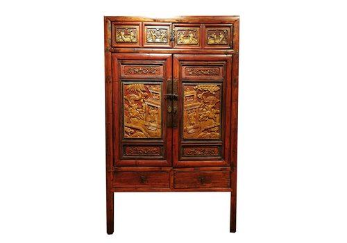 Fine Asianliving Armario Chino Antiguo de Madera Tallado a Mano con Oro Anch.103 x Prof.50 x Alt.176 cm
