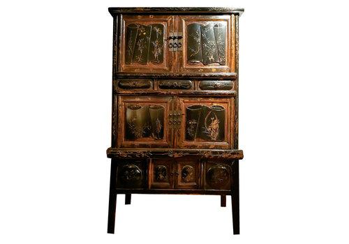 Fine Asianliving Armario Chino Antiguo Tallado a Mano Anch.105 x Prof.44 x Alt.177 cm