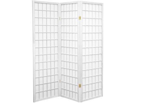 Fine Asianliving Japanischer Paravent Raumteiler Trennwand 3-teilig Shoji Reispapier - Weiß - B135xH180cm