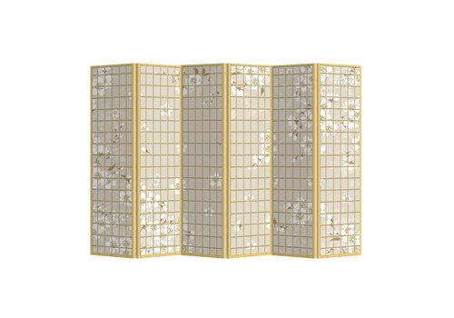 Fine Asianliving Paravento Divisori in Tela L240xA180cm 6 Pannelli Fiori Giapponesi Natural