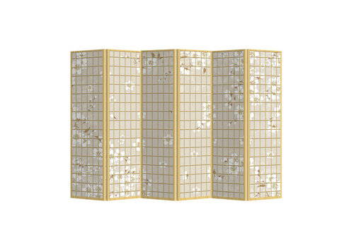 Fine Asianliving Room Divider Privacy Screen 6 Panels W240xH180cm Japanese Flowers Natural