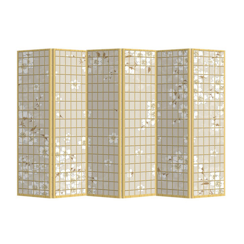 Room Divider 6 Panel Japanese Flowers Natural W240xH180cm