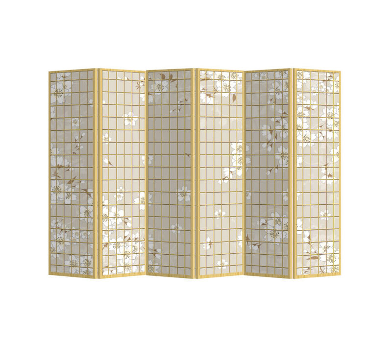 Room Divider Privacy Screen 6 Panels W240xH180cm Japanese Flowers Natural