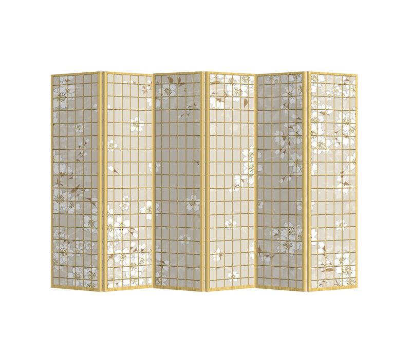 Separè Paravento Divisori L240xA180cm 6 Pannelli Fiori Giapponesi Natural