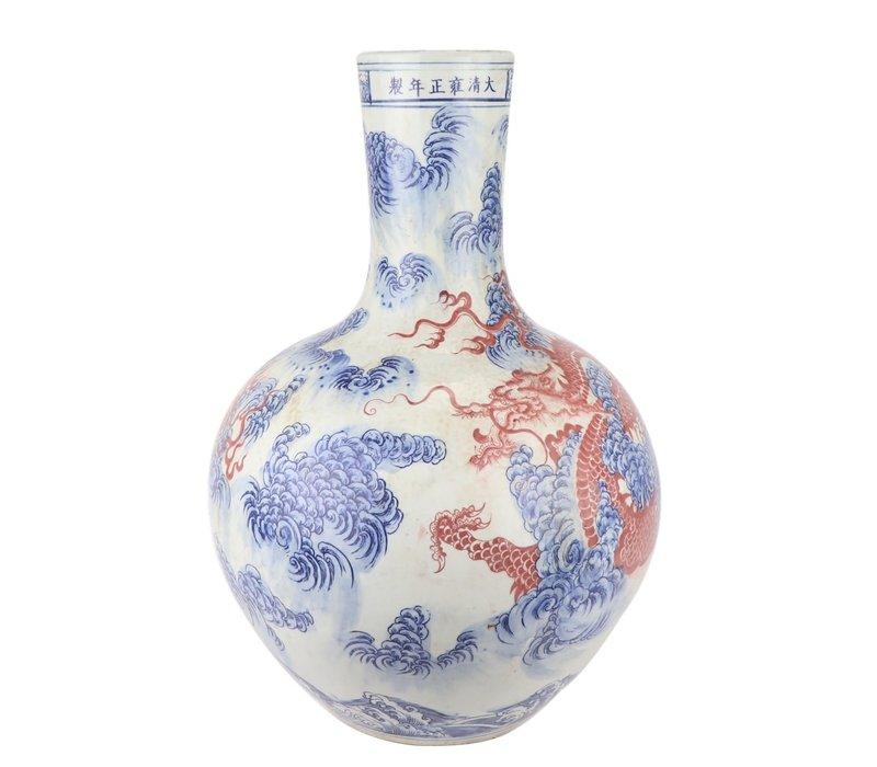 Chinese Vaas Porselein Draak Handgeschilderd Rood D39xH55cm