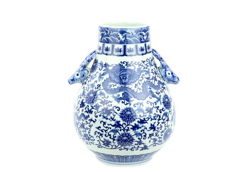 Fine Asianliving Jarrón de Porcelana Chino Ciervos y Dragón blanca Azul D.24 x Alt.29 cm